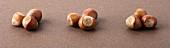 Three groups of hazelnuts