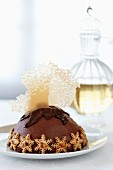 Chocolate parfait with sable biscuits for Christmas