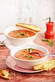 Gazpacho with crispy bread slices