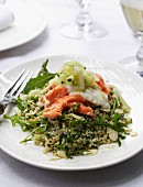 Vegetables couscous with salmon