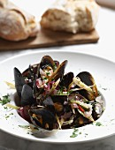 Mussels in a vegetable wine broth