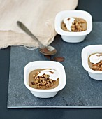 Coffee panna cotta with crunchy nut topping