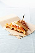Waffle sandwich with salmon