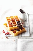Gaufre lyonnaise (waffle with chocolate sauce, France)