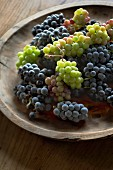 Bunches of white and black grapes in wooden bowl