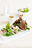 Lamb chops with a mushroom salad