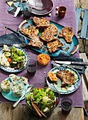 Grilled pork chops with salad