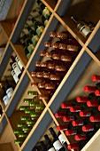 Assorted bottles of wine on wine shelves