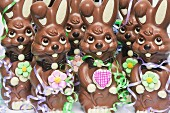 Chocolate Easter bunnies with streamers