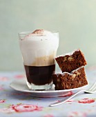 Brownies with cappuccino