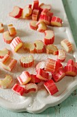 Chopped rhubarb with sugar