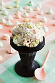 Sesame seed ice cream with pastel coloured meringue dots
