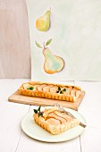 A puff pastry tart with pears