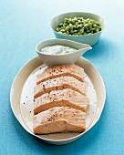 Poached salmon with herb quark