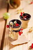 Redcurrants and whitecurrants in a chocolate wafer cup