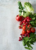 Ingredients for a colourful vegetable salad with fruit
