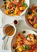 Mango and papaya salad with prawns