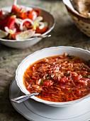 Beetroot soup called borsch.