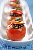 Tomatoes filled with tapenade