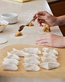Prepering apple dumplings