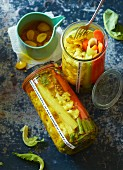 Pickled vegetables in a turmeric-infused liquor