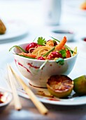 Radish and prawn salad with fried noodles (Asia)