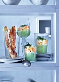 Herb mayonnaise with chopped eggs and nut and cheese fingers