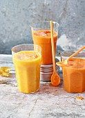 Melon & ginger smoothie and mango & clementine smoothie