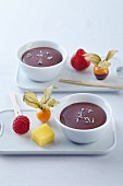 Chocolate and lavender fondue with fruit