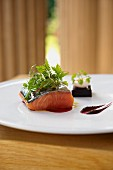 Salmon filled with beetroot jelly and a quail's egg