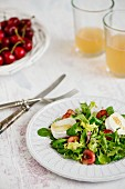 A salad with a cherry vinaigrette and goat's cheese