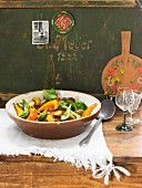 Oven-roasted pumpkin and potato salad