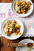 Potato salad with chanterelles
