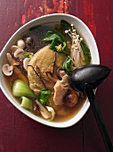 Mushroom and vegetable soup with caterpillar fungus and vegetarian duck