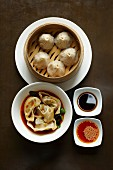 Dim sum with Szechuan-style wontons and steamed dumplings