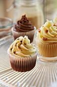 Chocolate, vanilla and caramel cupcakes