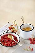 Ingredients for jam made from rowan berries