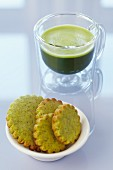 Matcha tea with matcha biscuits