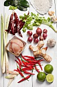 Chicken Tom Yum Soup Ingredients - Thailand - Lemon Grass, Red Chili, Lime, Galangal (Thai Ginger), Garlic, Chicken, Dried Chili, Coriander, Rock Salt