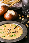 Cream of mushroom soup. Home-made, country style with sliced mushrooms.