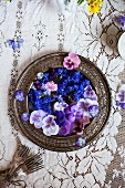 A Platter of Edible Flowers; Cornflower, Violas and Pansies