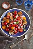 Panzanella caprese salad