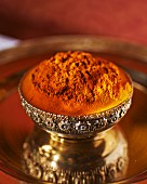 Turmeric in a silver dish (India)