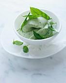 Bowl of basil ice cream with garnish