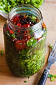 Pickled Mustard Greens in a Mason Jar