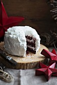 Red Velvet cake with coconut, cut to reveal the centre (for Christmas)