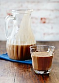 Chocolate shake in a glass and in a jug