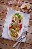 Tuna salad with cherry tomatoes and onions