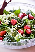Bowl of Spinach Salad with Strawberries