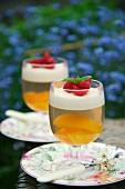 Peaches in jelly with panna cotta and raspberries